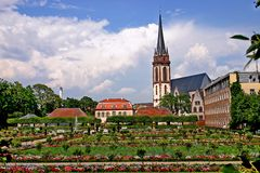 Darmstadt. De tuin. Stock Foto
