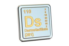 Darmstadtium Ds, chemical element sign. 3D rendering Royalty Free Stock Images