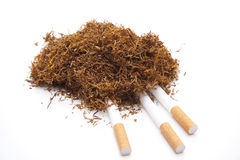 Darning tobacco with cigarets Royalty Free Stock Images