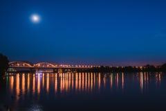 Darnitskiy bridge across Dnepr river at night. Kiev, Ukraine Stock Image