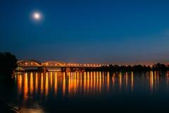 Darnitskiy bridge across Dnepr river at night. Kiev, Ukraine Royalty Free Stock Image