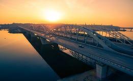 Darnitskiy bridge at sunset Royalty Free Stock Photo