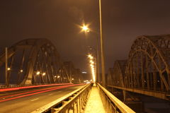 Darnytskiy bridge, kiev. Darnytskiy bridge at winter evening Stock Image