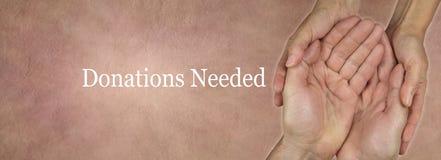 Darowizny strony internetowej Potrzebny sztandar zdjęcie royalty free