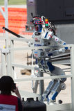 DARPA Robotics Challenge DRC Hubo Completes Stair Climb. POMONA, CA - JUNE 6: Team KAIST's DRC-Hubo robot successfully completes stair climb task at the DARPA stock photos