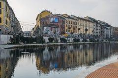 Darsena-Hafen ist am Punkt, in dem die großen Kanäle Naviglio Pavese und Naviglio sich treffen Es war einmal ein wichtiger Knoten Stockfotografie