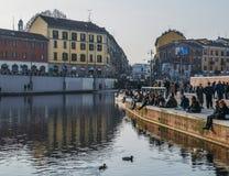 Darsena-Hafen ist am Punkt, in dem die großen Kanäle Naviglio Pavese und Naviglio sich treffen Es war einmal ein wichtiger Knoten Lizenzfreie Stockfotos