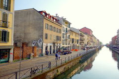 Darsena Naviglio. A view of the Naviglio Grande in Milan, Italy Royalty Free Stock Photo