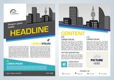 Darstellung des Vektorfliegers, des Firmenkundengeschäftes, des Jahresberichts, des Broschürenentwurfs und der Abdeckung mit blau lizenzfreie abbildung