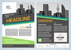 Darstellung des Vektorfliegers, des Firmenkundengeschäftes, des Jahresberichts, des Broschürenentwurfs und der Abdeckung mit grün stock abbildung