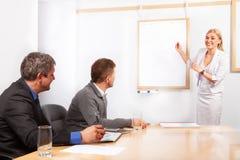 Darstellung die junge Frau geben, die Flip-Chart zeigt Lizenzfreie Stockbilder
