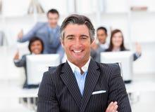 Darstellung eines positiven Managers und seines Teams Lizenzfreie Stockbilder