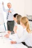 Darstellung fälligen Geschäftsmann bei der Sitzung geben Lizenzfreies Stockfoto