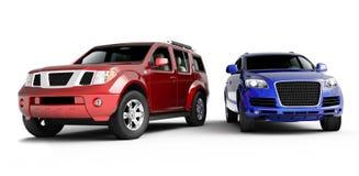Darstellung mit zwei Autos Stockbild