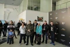 Darstellung neuen russischen Auto Lada-RÖNTGENSTRAHLS, der am 14. Februar 2016 im Ausstellungsraum Severavto gesandt wurde Lizenzfreies Stockfoto