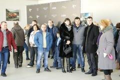 Darstellung neuen russischen Auto Lada-RÖNTGENSTRAHLS, der am 14. Februar 2016 im Ausstellungsraum Severavto gesandt wurde Lizenzfreie Stockfotografie