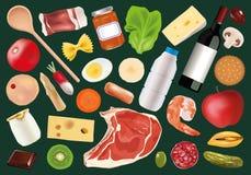 Darstellung von verschiedenen Nahrungsmitteln, grundlegende Nahrung lizenzfreie abbildung