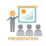Darstellungs-Geschäftsmann, der Flip Chart With Finance Graph, Ausbildungskonferenz-Sitzung zeigt Lizenzfreies Stockbild
