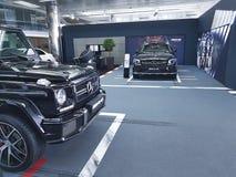 Darstellungsart Auto Mersedes-Benz Ukraine Kiew am 21. Januar 2018 eleganter, im Ausstellungsraum Stockbilder