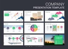 Darstellungsschablone mit infographic Elementen Stockfotos