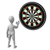 Dart. 3d render of cartoon character with dart Stock Image
