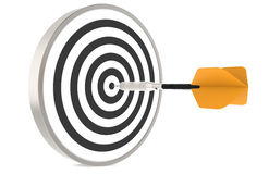 Dart. Hitting the target. Orange Stock Photo