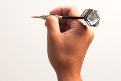Dart. Hand holding dart prepare to throw Royalty Free Stock Photo