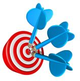 Dart aiming bull's eye Stock Photo