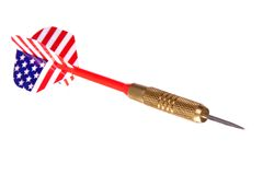 Dart with American flag flight. Angled American flag dart, isolated against white ground royalty free stock images