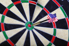 Dart with the American flag hitting a target board Royalty Free Stock Photography