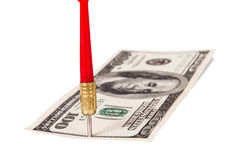 Dart Arrow and Dollar Bill Royalty Free Stock Images