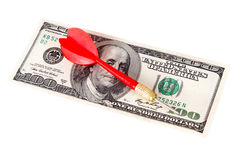 Dart Arrow and Dollar Bill Royalty Free Stock Image