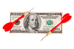 Dart Arrow and Dollar Bill Stock Photography