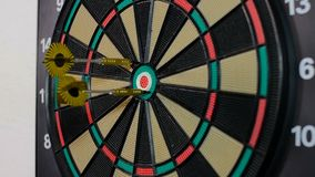 A dart arrow stick on the dart board. stock video footage