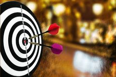 Dart arrows in bulls-eye close up. Eye arrows bulls dart close up game sport Royalty Free Stock Images