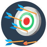 Dart arrows miss target. On color background in circle, lose flat vector illustration broken arrow, 3d stylize Royalty Free Stock Photography
