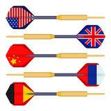 Dart arrows small missiles with flags of countries vector stock illustration