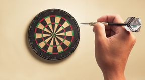 Dart board. Throwing dart to dart board Royalty Free Stock Photo