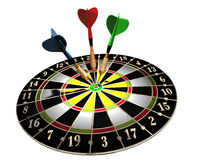 Dart board. 3d illustration of a target and three colored darts on white background stock illustration