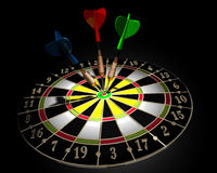 Dart board. 3d illustration of a target and three colored darts on dark background royalty free illustration