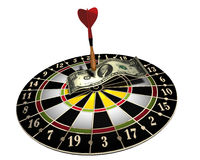 Dart board. 3d illustration of a target, one colored dart and 10 dollars on white background stock illustration