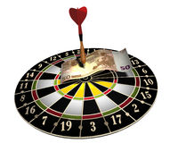 Dart board. 3d illustration of a target, one colored dart and 50 euro on white background vector illustration