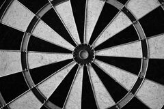 Dart board in black and white Royalty Free Stock Photos