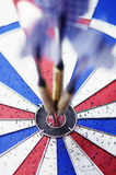 Dart board with bulls eye Stock Images