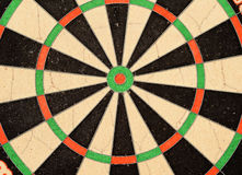 Dart Board Bullseye Target. Dart board with double rings and red and green bullseye Royalty Free Stock Photo