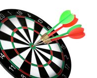 Dart board with color arrows hitting target on white. Background stock photo