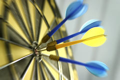 Dart board with dart. S- Entertainment Royalty Free Stock Photo