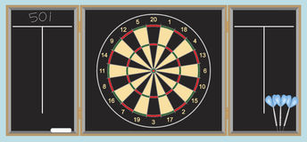 Dart board with darts. Dartboard in wooden box with darts and chalk Royalty Free Stock Images