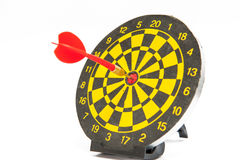 Dart board. A dart board with darts embroidered in the middle. Concept, accomplish the goal Stock Photo