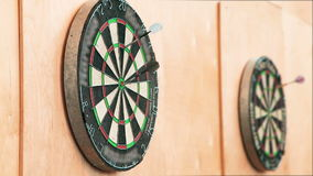 The Dart Board With Darts Stuck stock video footage